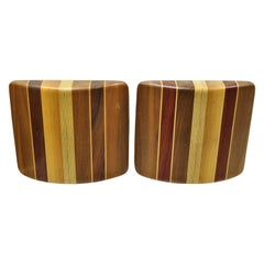 Vintage Mid-Century Modern Solid Wood with Inlay Curved Bookends, a Pair