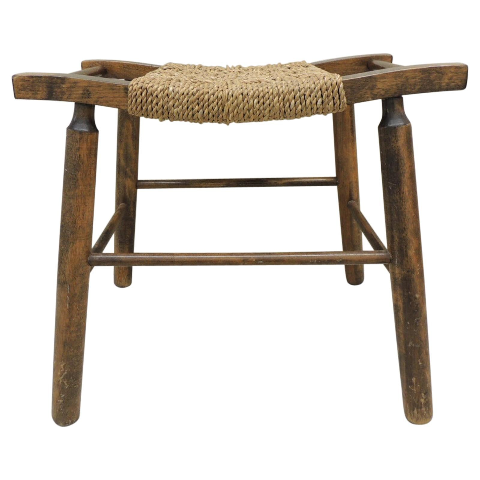 Vintage Mid-Century Modern Stool with Woven Twine Seat