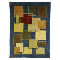 Vintage Mid-Century Modern Style Rug with Cubism and Bauhaus Design