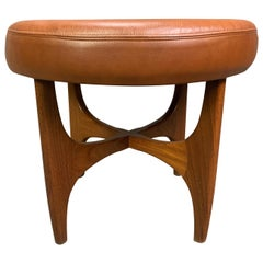 """Vintage Mid-Century Modern Teak and Leather """"Astro"""" Ottoman by G Plan"""