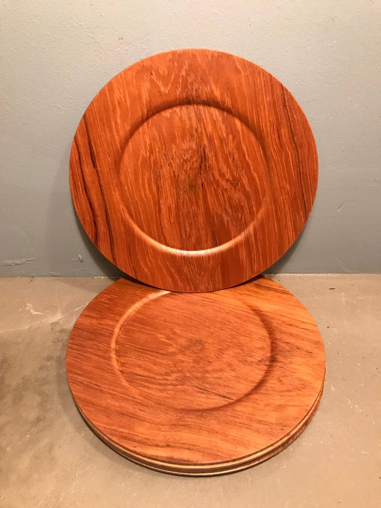 Vintage set of 6 teak plates made by Morsdak of Denmark In new old stock condition.