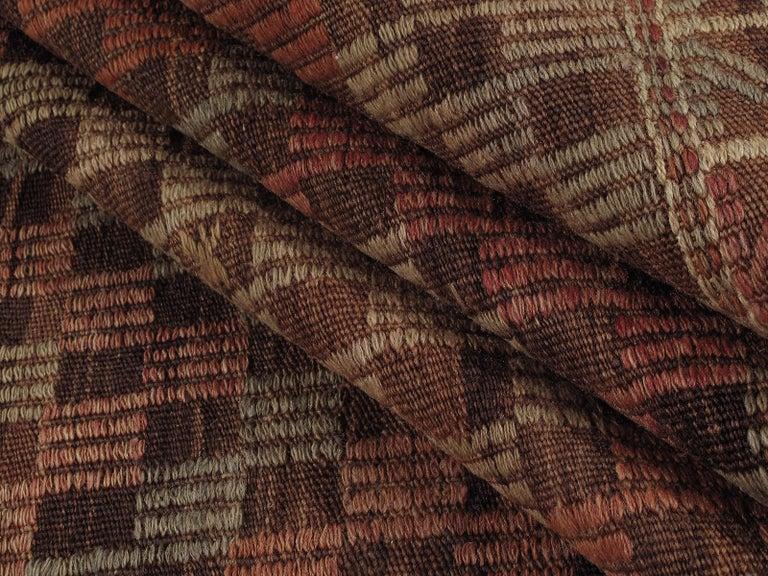 Turkish Vintage Mid-Century Modern Tribal Flatweave Rug  For Sale