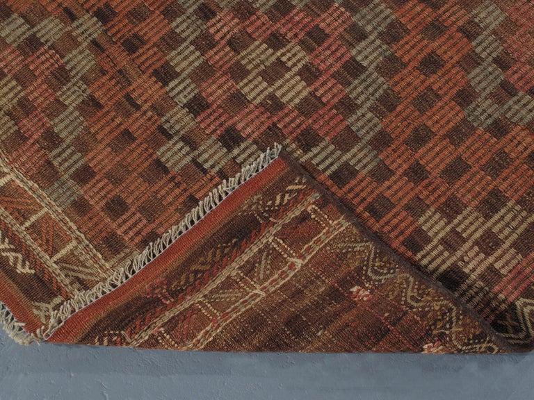 Hand-Woven Vintage Mid-Century Modern Tribal Flatweave Rug  For Sale