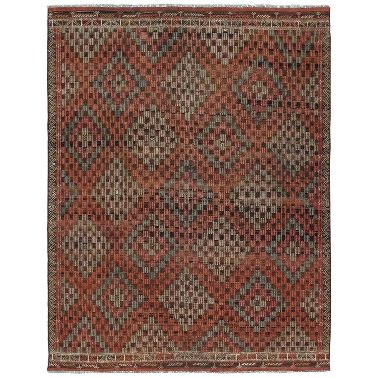 Vintage Mid-Century Modern Tribal Flatweave Rug  For Sale