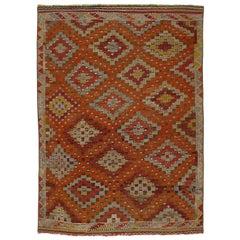 Vintage Mid-Century Modern Tribal Flat-Weave Rug