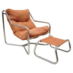 Vintage Mid-Century Modern Tubular Chrome Sling Lounge Chair and Ottoman