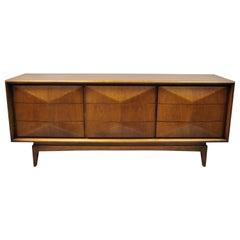 Vintage Mid-Century Modern United Walnut 3 Dimensional 9-Drawer Dresser Credenza