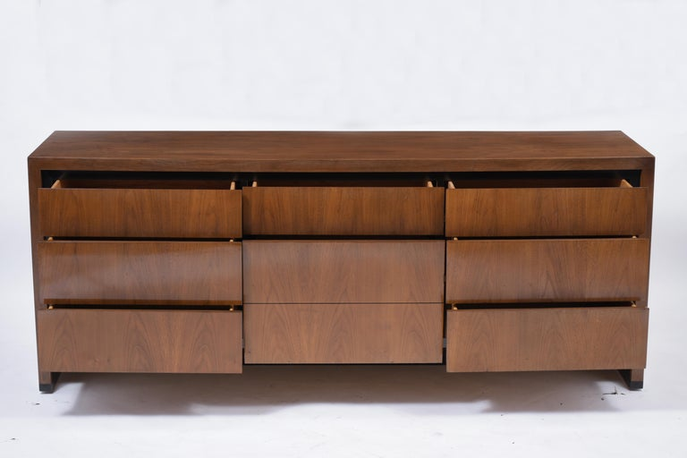 Hand-Crafted Vintage Mid-Century Modern Walnut Chest of Drawers For Sale
