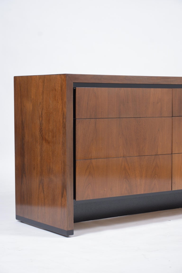 Metal Vintage Mid-Century Modern Walnut Chest of Drawers For Sale