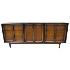 Vintage Mid-Century Modern Walnut Long Dresser Credenza Cabinet Drexel Pacer