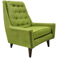 Vintage Mid-Century Modern Walnut Pearsall McCobb Style Green Lounge Chair