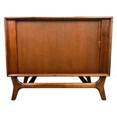 Vintage Mid-Century Modern Walnut Record Cabinet by Packard Bell