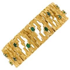 Vintage Mid-Century Modernist Brutalist 14-Karat Yellow Gold Bracelet