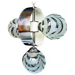 Vintage Mid-Century Modernist Chrome Atomic Space Age Sputnik Orbit Chandelier