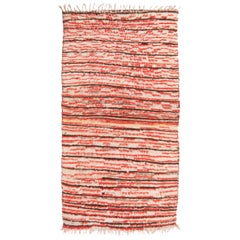 Vintage Mid-Century Moroccan Berber Transitional Red and Beige Wool Rug