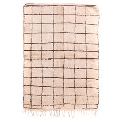 Vintage Mid-Century Moroccan Contemporary Beige and Brown Wool Rug