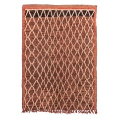 Vintage Mid-Century Moroccan Transitional Beige and Brown Wool Rug