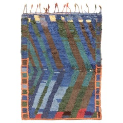 Vintage Mid-Century Moroccan Transitional Blue and Green Wool Rug