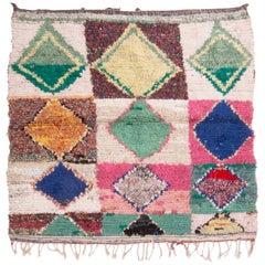 Vintage Midcentury Moroccan Transitional Green Multicolor Wool Rug