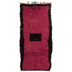 Vintage Mid-Century Moroccan Transitional Magenta and Black Wool Rug