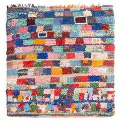 Vintage Mid-Century Moroccan Transitional Multicolor Fabric Rug