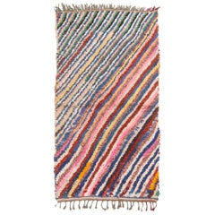 Vintage Mid-Century Moroccan Transitional Pink and Blue Multicolor Wool Rug