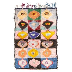 Vintage Mid-Century Moroccan Transitional Pink and Blue Wool Rug