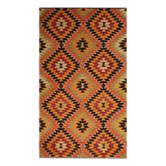 Vintage Midcentury Mut Geometric Green Orange Wool Kilim Rug