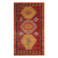 Vintage Midcentury Mut Red-Orange Wool Tribal Kilim Rug