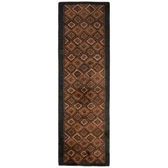 Vintage Midcentury Ozbek Runner Geometric Pattern Beige Brown Rug