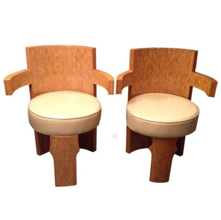 Vintage Midcentury Parquetry Barrel Armchairs