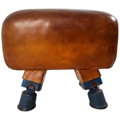 Vintage Midcentury Patinated Leather Gym Bench, circa 1930s