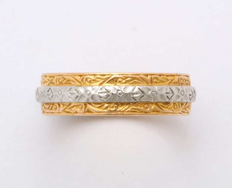 Modern Vintage Midcentury Platinum and Gold Band Ring by Charles Green & Son For Sale