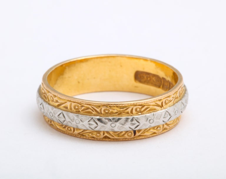 Vintage Midcentury Platinum and Gold Band Ring by Charles Green & Son In Excellent Condition For Sale In Stamford, CT