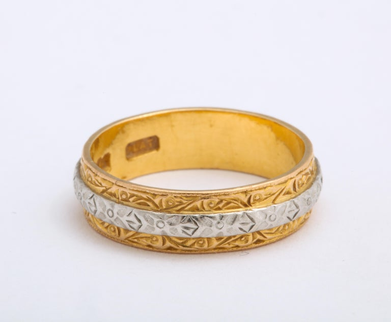 Women's or Men's Vintage Midcentury Platinum and Gold Band Ring by Charles Green & Son For Sale