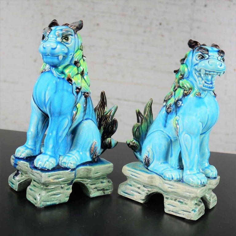 Vintage Midcentury Pr Japanese Komainu Lion Dogs Ceramic Turquoise Green Glaze For Sale 4