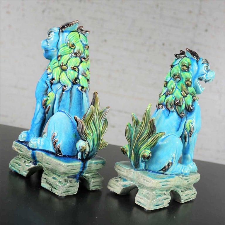 Vintage Midcentury Pr Japanese Komainu Lion Dogs Ceramic Turquoise Green Glaze For Sale 7