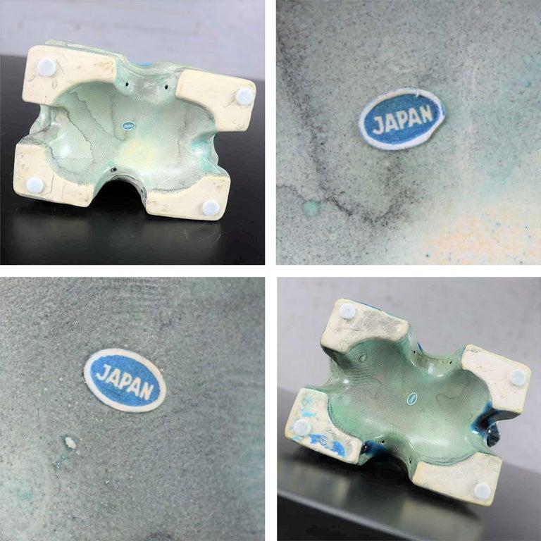 Vintage Midcentury Pr Japanese Komainu Lion Dogs Ceramic Turquoise Green Glaze For Sale 8