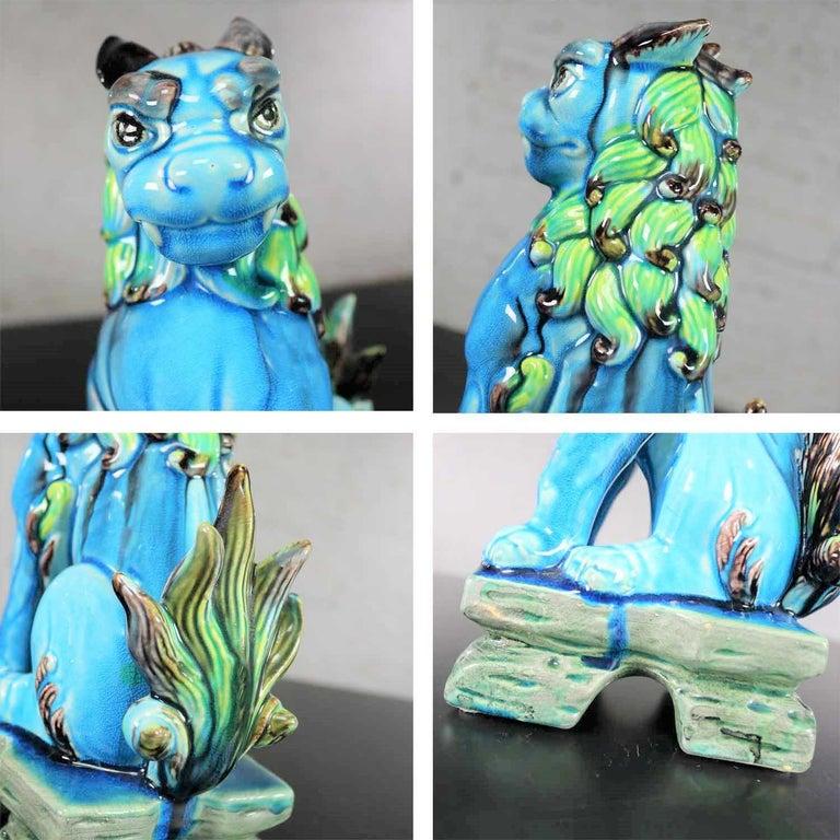 Vintage Midcentury Pr Japanese Komainu Lion Dogs Ceramic Turquoise Green Glaze For Sale 9