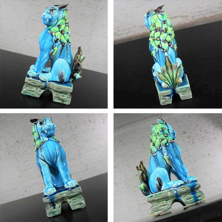Vintage Midcentury Pr Japanese Komainu Lion Dogs Ceramic Turquoise Green Glaze For Sale 11