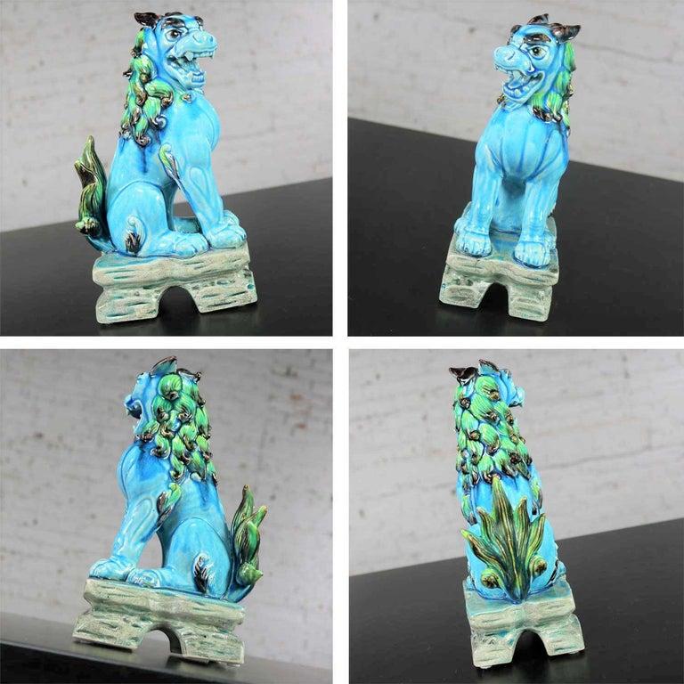 Vintage Midcentury Pr Japanese Komainu Lion Dogs Ceramic Turquoise Green Glaze For Sale 12