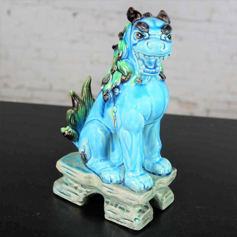 Japonisme Vintage Midcentury Pr Japanese Komainu Lion Dogs Ceramic Turquoise Green Glaze For Sale