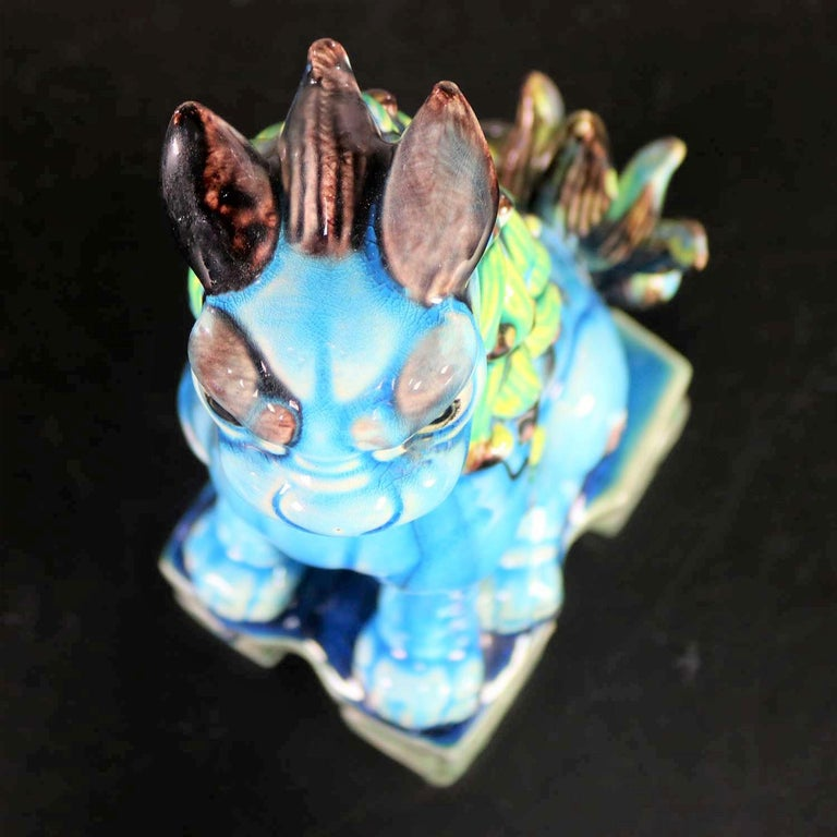 20th Century Vintage Midcentury Pr Japanese Komainu Lion Dogs Ceramic Turquoise Green Glaze For Sale