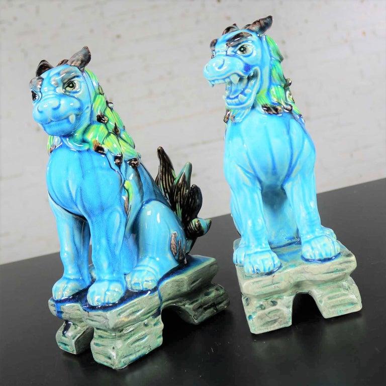Vintage Midcentury Pr Japanese Komainu Lion Dogs Ceramic Turquoise Green Glaze For Sale 2