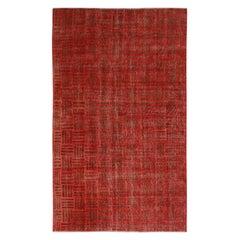 Vintage Midcentury Red and Brown Geometric Wool Rug