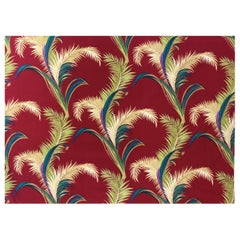 Vintage Mid Century Red Barkcloth with Tropical Palm Leaf Design