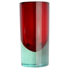 Vintage Midcentury Red Venetian Murano Sommerso Glass Vase, circa 1970