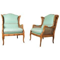 Vintage Midcentury Regency Style Faux Bamboo Boho Cane Wingback Chairs