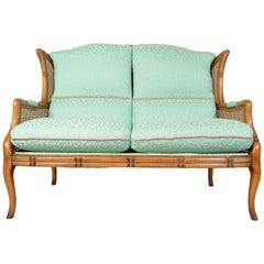 Vintage Midcentury Regency Style Faux Bamboo Boho Cane Wingback Settee Bench