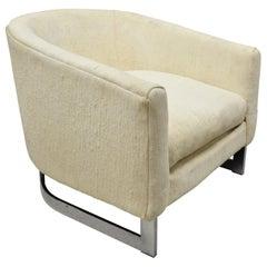 Vintage Midcentury Rowe Chrome Barrel Back Milo Baughman Lounge Club Chair